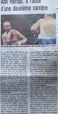 Article du Courrier Picard sur le retour du boxeur Adil Hattab, préparé par Coach For Life
