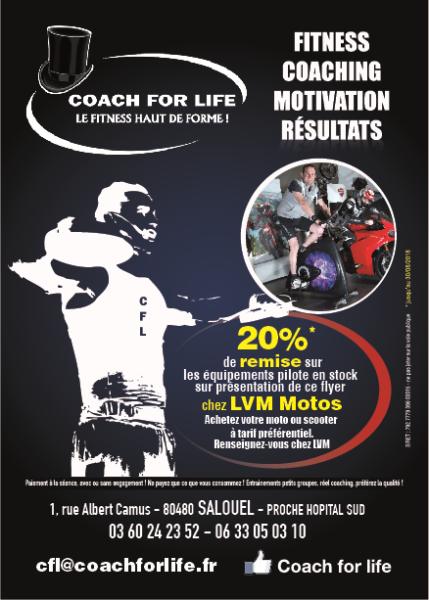 Coach For Life a choisit LVM moto comme partenaire sportif en 2018 et vous propose des équipements motos moins cher