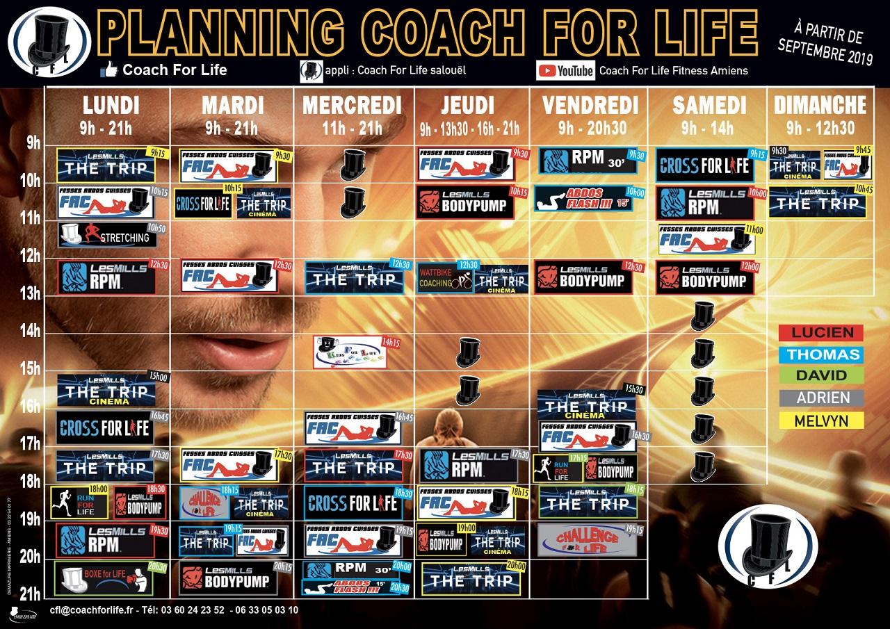 Planning des cours collectif