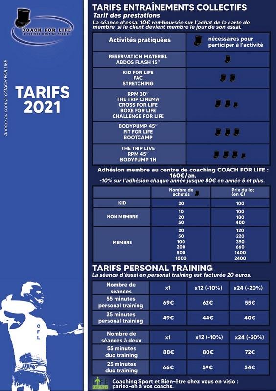 Nos tarifs en 2021